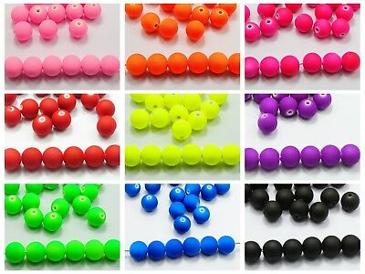 """100 Fluo Neon Beads Acrylic Round Beads 12mm(1/2"""") Rubber Tone Color Choice"""