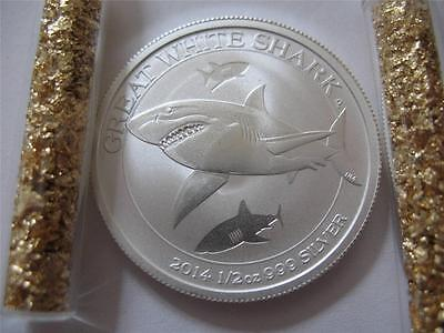 2014 1/2 Ounce  Silver Australian Great White Shark Perth Mint Coin +  Gold