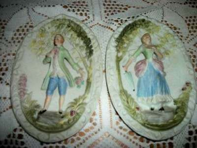 Chic Occupied Japan Porcelain Romantic Couple Plaques Shabby Hand Painted Nice