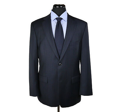 Hugo Boss Pasolini/Movie 100's Wool Suit Navy Blue w/Blue Stripes Size 42R