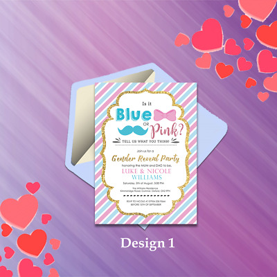 Personalised Baby Gender Reveal Boy or Girl Party Invitations & Thank You Cards