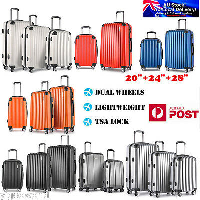 2x/3x Luggage Suitcase Trolley TSA Travel Carry On Bag Hard Case Lightweight AU
