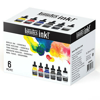 Liquitex Professional Acrylic Ink Essentials 6 Set. Artists Pen & Painting Inks
