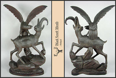 black forest hand carved wood german ibex eagle carving