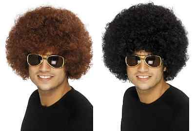 NEW 70's Funky Afro Wig - Black Brown Retro 1970s Fancy Dress Accessories
