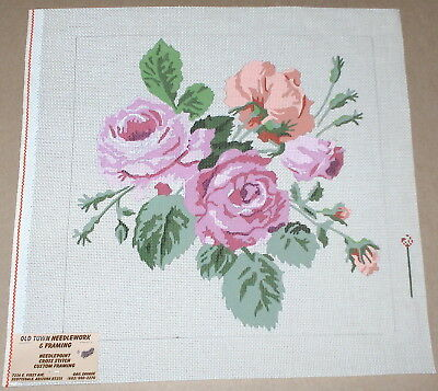 Large / Colorful Floral Roses Display Handpainted Needlepoint Canvas