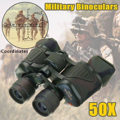 AU 50X Army Military Zoom Binoculars HD Hunting Camping Coordinates Night Vision
