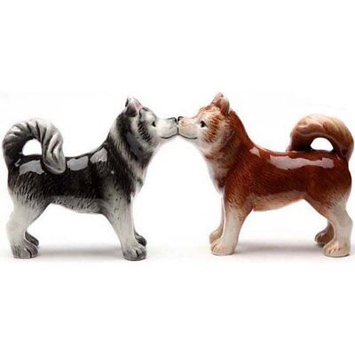 Siberian Huskies Husky Kissing Dog Ceramic Salt & Pepper Shakers Figurine