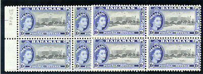 Bahamas 1954-63 QEII 10d both listed shades in blocks MNH. SG 210, 210a.