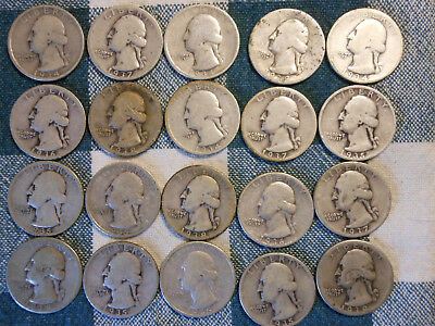 20 - EARLY WASHINGTON 90% SILVER QUARTERS - $5.00 FACE VALUE -20 COINS - lot B