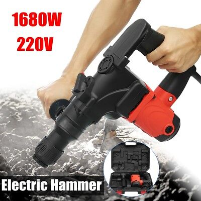 1680W Watt Electric Demolition Jack Hammer Concrete Breaker Punch Metal Box