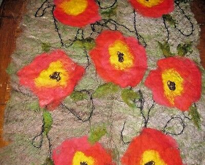 "Vintage Floral BOILED Felted WOOL Rug TEXTILE Chair Cover Wall Hanging 46"" x 34"""
