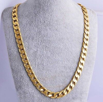 "10MM 24"" Men 18k Yellow Gold Plated Cuban Chain Necklace Jewelry Hip-Hop Cool"
