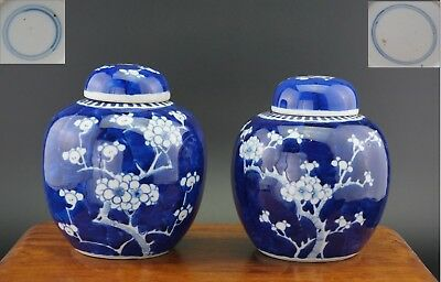 Near Pair Antique Chinese Blue and White Prunus Blossom Vase & Lid KANGXI 19th C