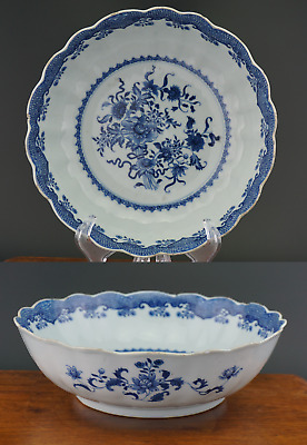LARGE Antique 18th C Chinese Porcelain Blue and White Bowl Plate Flutted Rim