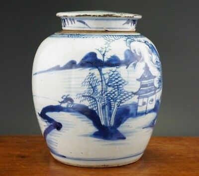 Antique Chinese Porcelain Kangxi Blue and White Ginger Jar Vase and Lid 18th C