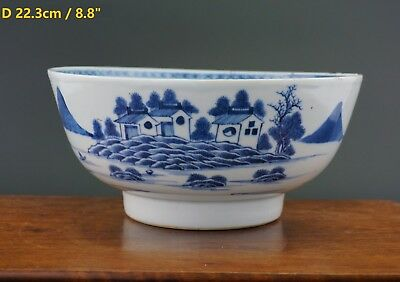 FINE Antique 18th C Chinese Porcelain Blue and White Punch Bowl Nanking Cargo