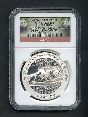 2014 China Silver Panda NGC PF70 Ultra Cameo Smithsonian Institution 1oz