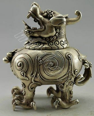 Collectible Old Decorated Tibet Silver Carved Big Dragon Incense Burner & Statue