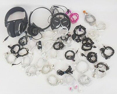"Lot of 46 Earbuds 37 w 1/8"" 3.5mm Connectors 8 Lightning & 1 Bluetooth"