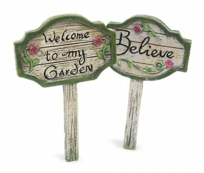 Fairy Gardens Mini Signs Set of 2 Miniature Accessories Believe Welcome Supplies