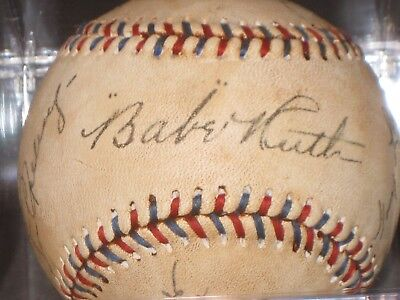 LOU GEHRIG BABE RUTH Signed Baseball 1927 New York Yankees READ LISTING