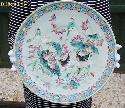 HUGE! Antique Chinese Porcelain Famille Rose Lotus Crane Duck Plate 19th C QING