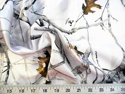 Discount Fabric True Timber Camo Conceal Snow Charmeuse Silky Bridal Satin CS18
