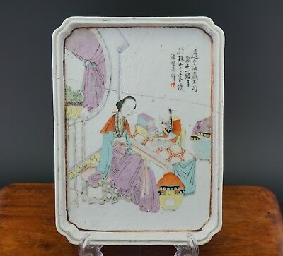 Antique Chinese Porcelain Famille Rose Calligraphy Tray Plaque Plate Republic