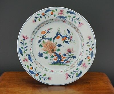 FINE! Antique Chinese Porcelain Famille Rose Doucai Blue and White Plate 18th C