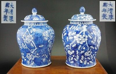 PAIR Antique Chinese Blue and White Prunus Blossom Temple Vase & Lid KANGXI 19 C