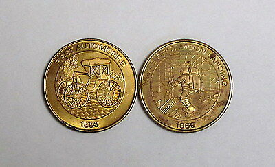 2 Circulated 1999 Sunoco Millennium Coin Series #6 and #9 - First Car and Moon
