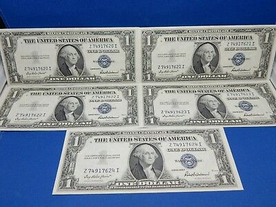 Set of 5 Sequential 1935F $1 US Silver Certificates - About Uncirculated