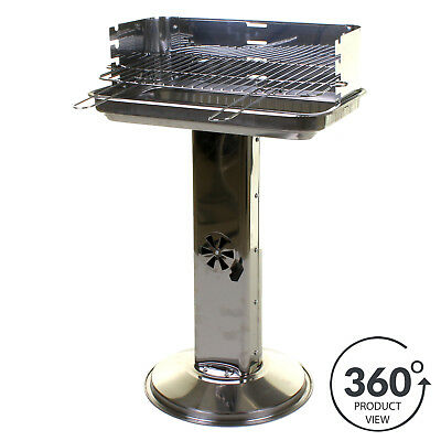 BBQ Barbecue Stainless Steel Pillar Outdoor Garden Patio Cooker Grill Party Food