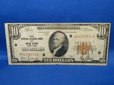 1929 $10 Federal Reserve Bank of New York National Currency Note - Fine