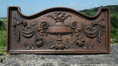 SUPERB 19thc OAK CARVED PANEL WITH GRECIAN URN & RAM HEADS IN RELIEF