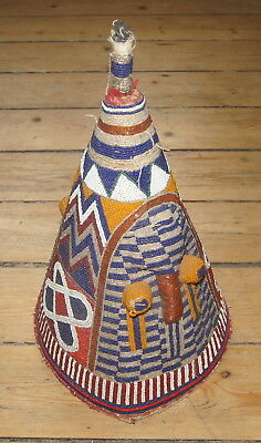 Fine Old Yoruba Nigeria Beadwork Beaded Hat Crown Mask Headdress African Tribal