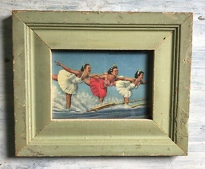 """1890's Reclaimed Wood Picture Frame 5"""" x 7"""" Wooden Antique Shabby Green 345-18"""