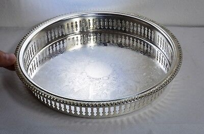 Ornate Vintage Silverplate Chased Round Gallery Tray with a 23cm Diameter.