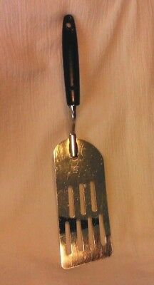 "Vintage EKCO Chromium Slotted Spatula Turner 12.25"" Nylon Handle Flexible Blade"