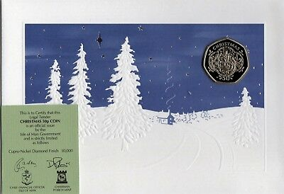 1993 Isle Of Man Christmas Card 50P Fifty Pence Coin Cupro Nickel Diamond Finish