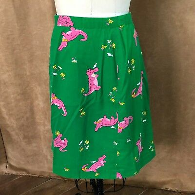 S Vintage skirt Hand made green pink alligator print womens small