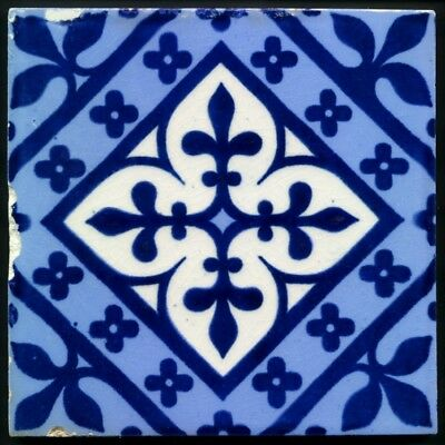 TH3255 Minton A. W. N. Pugin Gothic Block Printed Persian Blues Tile c.1875