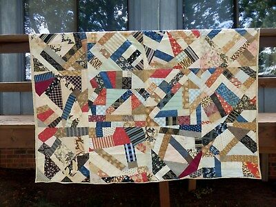 LATE 1800's  - EARLY 1900's CRAZY QUILT - GREAT PERIOD FABRICS.