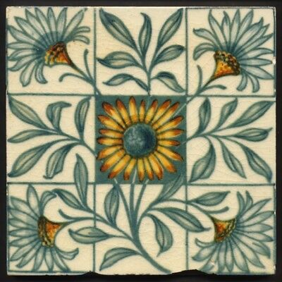 TH3387 Arts & Crafts Painted Tile W. B. Simpson Rd.1884