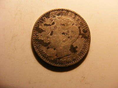 Puerto Rico 1896 Silver 10 Centavos, Fine with spots - BUT IT IS ONE