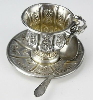 Antique 19c French Fine Repousse 950 Sterling Silver Cup Saucer Spoon Set NR DLC