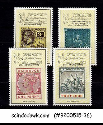 BARBADOS - 1990 150th ANNIVERSARY OF THE 1st ADHESIVE STAMP - 4V - MNT NH