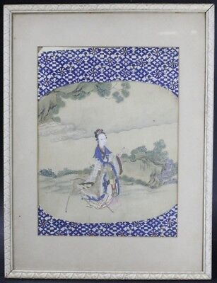 VTG Chinese Export Hand Painted Watercolor on Silk Quan Yin w Deer Painting SLG