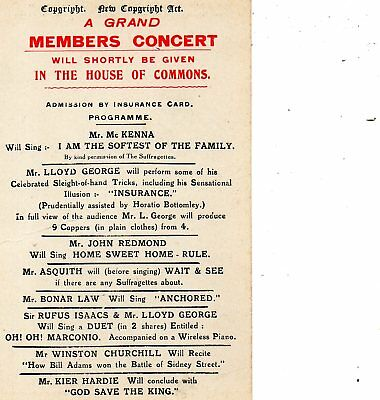 Grand Members Concert in The House of Commons:Edwardian Political Card.SEE SCANS
